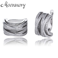 Moonmory Crystal Multi layer Crisscross 925 Sterling Silver Earring For Women Sterling Silver X Knot Earring Jewelry With Zircon