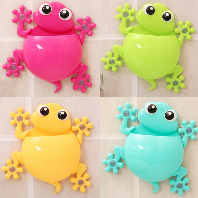 Cute Frog Holder Accessories Bathroom Gecko Wall Brush Holder Suction Cup Holder Frog toothbrush holder