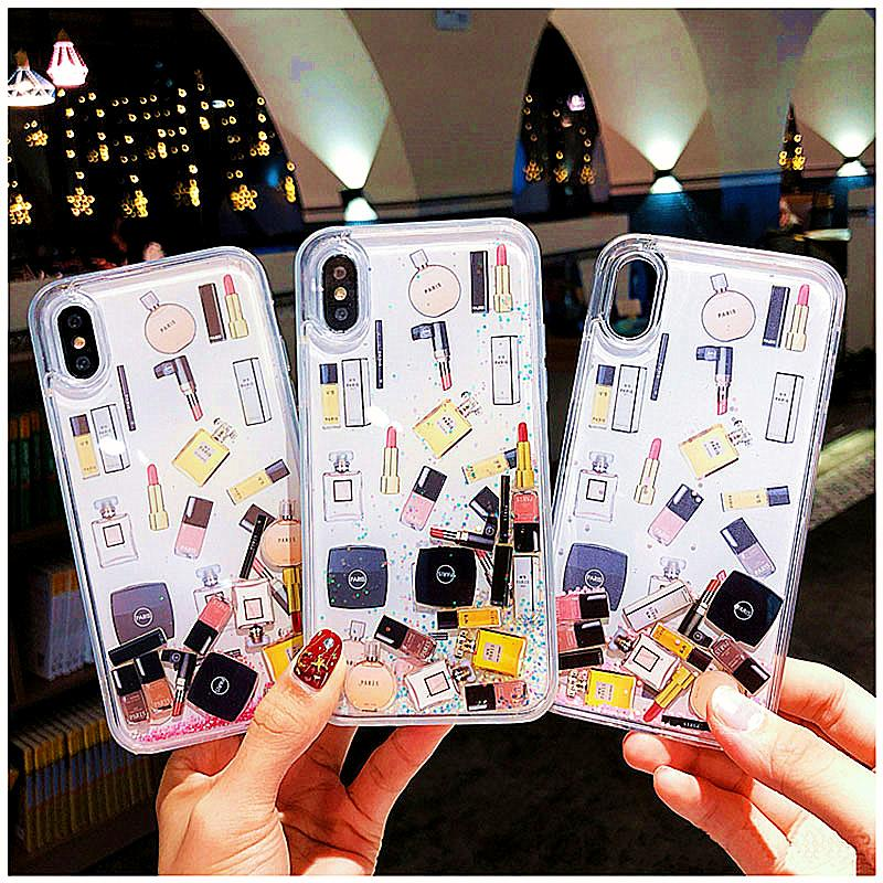 Cosmetic Quicksand Cover Case For iPhone 6S 7 8 Plus Hard Dynamic liquid Lipstick Perfume Bottle For iPhone XS Max XR Phone CapaCosmetic Quicksand Cover Case For iPhone 6S 7 8 Plus Hard Dynamic liquid Lipstick Perfume Bottle For iPhone XS Max XR Phone Capa