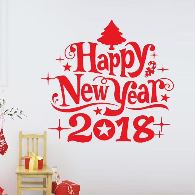 2018 Happy New Year 2018 Merry Christmas Tree Wall Sticker Home Shop  Windows Decals Decor 8