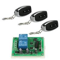 433Mhz Universal Wireless Remote Control Touch Switch DC12V 2 Buttons Relay Receiver Module With 3Pcs RF