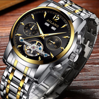 AILANG Classic Series Golden Movement Inside Silver Stainless Steel Mens Skeleton Watch Top Brand Luxury Fashion