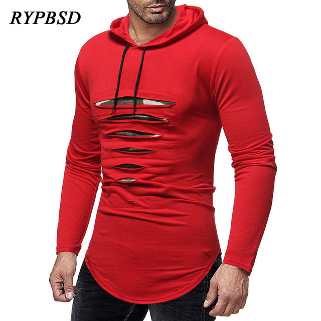 a30e85416e65 2018 Autumn New Men Plain Ripped Destroy Hole with Zipper Design Slim Fit  Hooded Casual Long