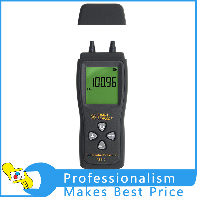 AS510 Handheld Digital Micro-manometer Pressure Meter Differential Pressure Gauge Measurement Range:0-100 hPa/0-45.15 in H2O portable lcd digital manometer pressure gauge ht 1895 psi air pressure meter protective bag manometro pressure meter