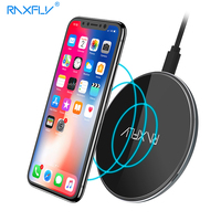RAXFLY 10W QI Wireless Charger For IPhone X 8 Plus Fast Charger Pad For Samsung S8
