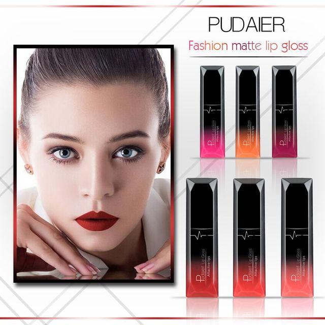 Pudaier moda mate No se decolora taza antiadherente brillo labial cosmético duradero hidratante líquido lápiz labial maquillaje a todo Color TSLM2