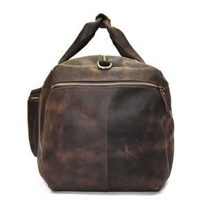 Image 4 - Big Capacity Men Travel Bag Thick Crazy Horse Genuine Leather Male Travel Duffel Extra Large Luggage Handbag Shoulder Bag Tote