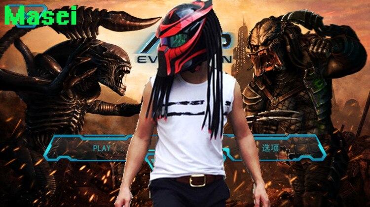 2017 Nouveau Masei Prédateurs masque moto en fiber de carbone casque Intégral visage iron man moto casque de Sécurité DOT Haute qualité rouge visière