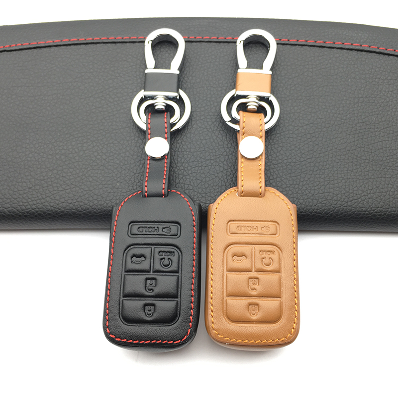 4 Button Leather Key Cover Smart Case Remote fob for Honda Element Accord Pilot Civic