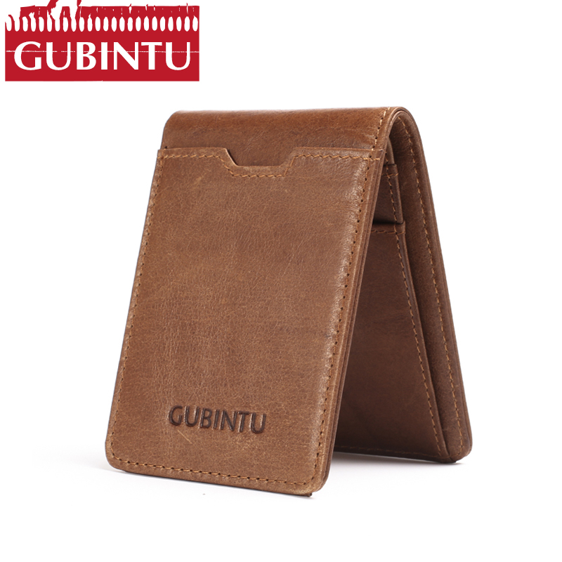 цена на Slim Bifold Wallet GUBINTU Vintage Genuine Leather Men Money Clip RFID Blocking US Dollars Thin Card Pocket Male Short Wallets