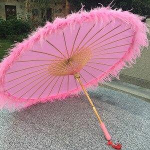 Image 3 - Sombrilla de seda china de Anime para mujer, accesorios de fotografía, paraguas de borlas de baile antiguo, sombrilla transparente de papel japonés para boda