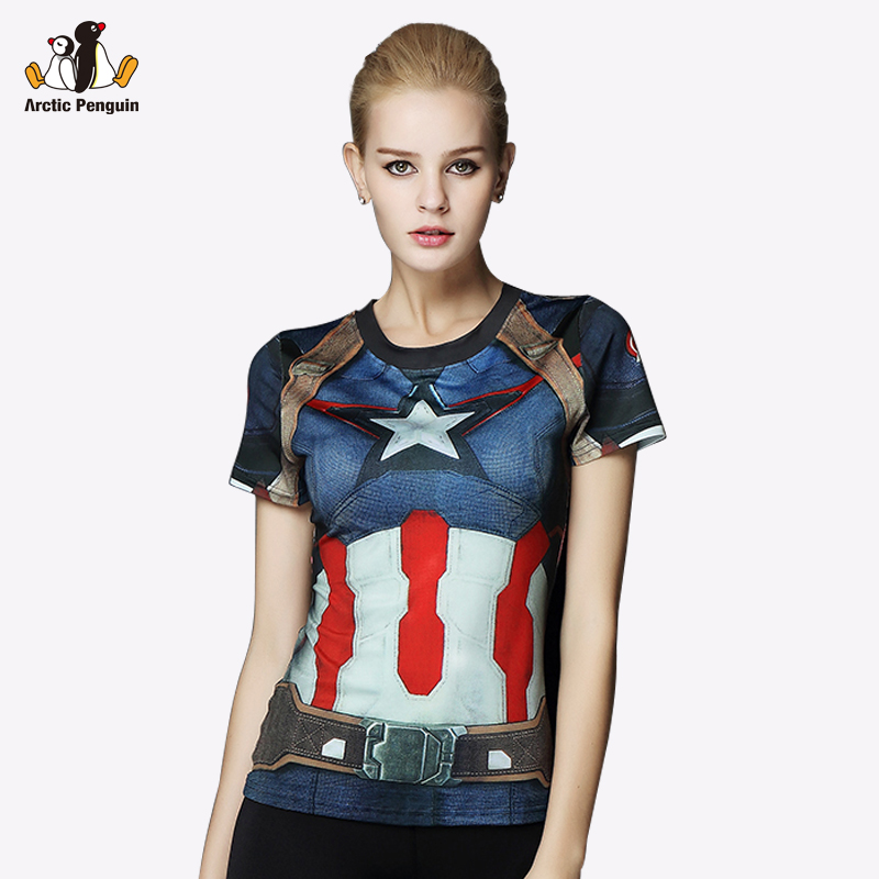 Ap women sport t shirt captain america 3d printed t for Compressed promotional t shirts