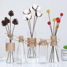 Прозрачная Гидропоника для воды, веревка в цветочек, сухая ваза для цветов, сделай сам, поддельные бутылки для цветов, домашний декор для стола, креативные скандинавские стеклянные вазы
