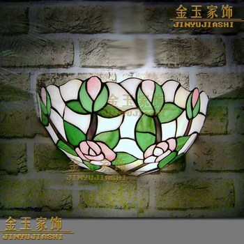 8 Inch Eropa Mediterania Tiffany Retro Mawar Lampu Dinding Lorong Nyaman Kreatif Lampu Bar Koridor