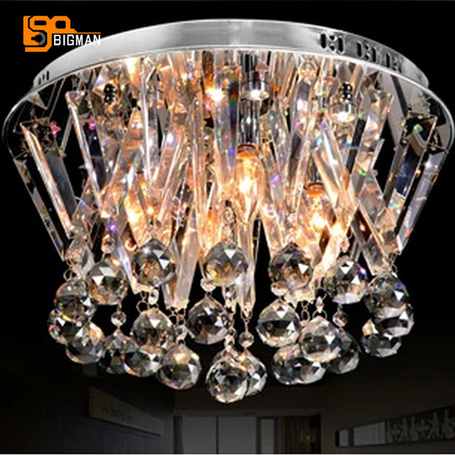 New Flush Mount Contemporary Crystal Chandelier Bedroom Light