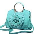 2016 Hot Large Women Bag With Flower Luxury Rhinestone Diamond Round Handle Women Tote PU Leather Messenge Bag