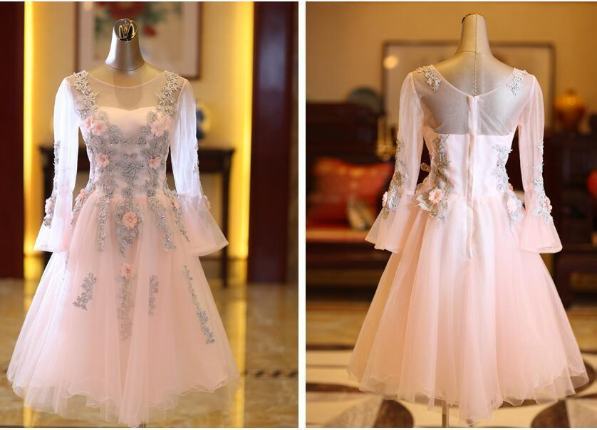 Lovely long sleeve A-line   cocktail     dress   short formal homecoming party gown with lace appliques