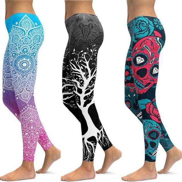 LI-FI הדפסת יוגה מכנסיים נשים ייחודי כושר חותלות אימון ספורט ריצה חותלות סקסי לדחוף את כושר ללבוש אלסטי רזה מכנסיים
