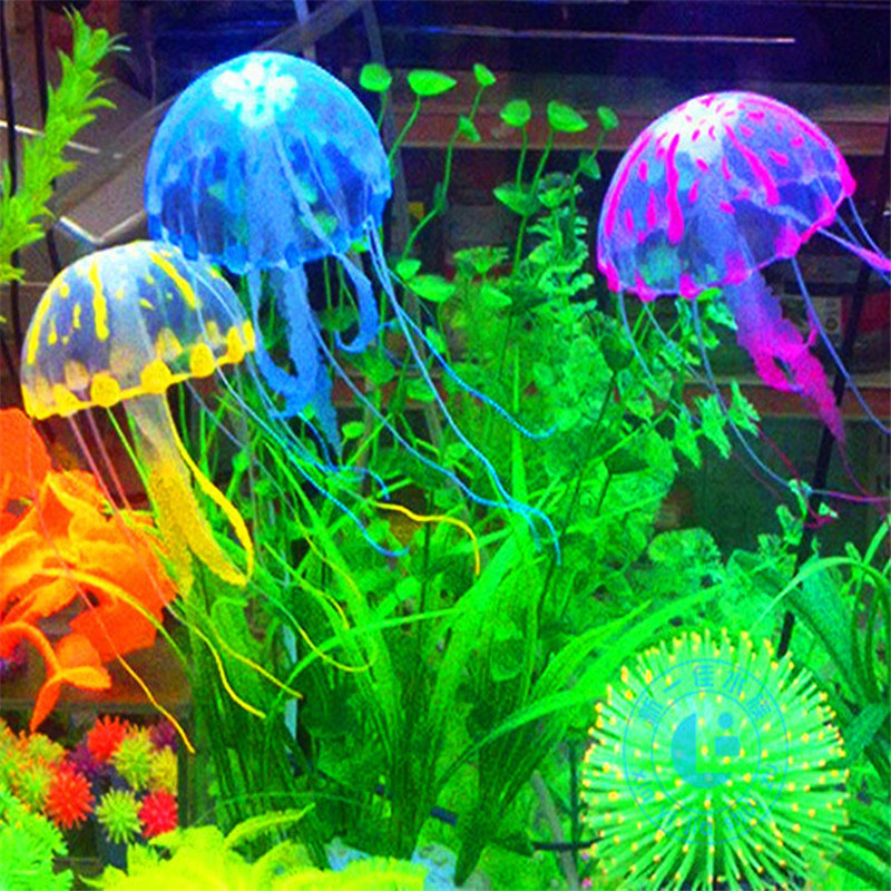 Glowing Effect Artificial Jellyfish Fish Tank Aquarium Decoration Mini Submarine Ornament Underwater Pet Decor Free Shipping