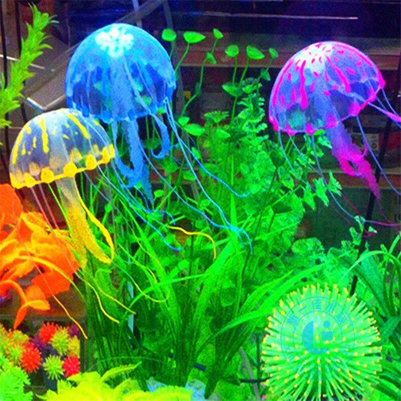 Glowing Effect Artificial Jellyfish Fish Tank Aquarium Decoration Mini Submarine Ornament Underwater Pet Decor Free Shipping(China)