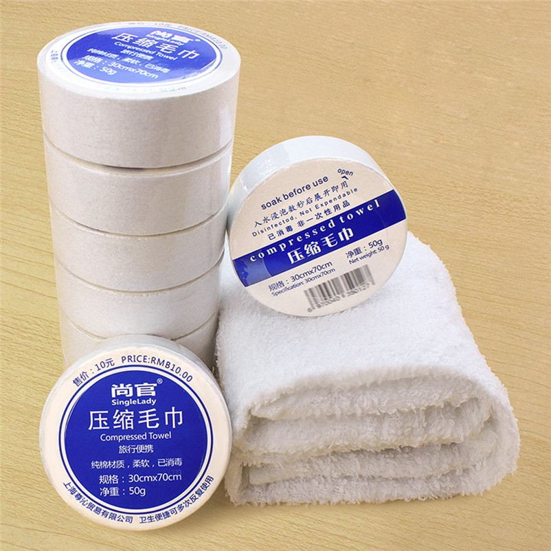 30 x 70cm Compressed Towel Magic Outdoor Travel Wipe White Soft Cotton Expandable Just Add Water swimming Entertainment #4S04 (7)