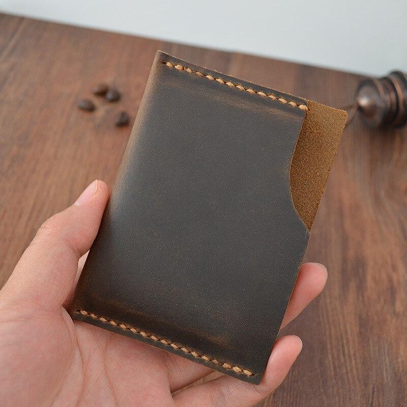 creative handmade genuine leather card holder vintage