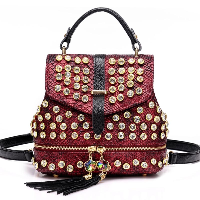 2019 New Fashion Women Alligator Diamond Backpack Shoulder Bag Fashion PU Female Backpack Girl School Bag S106 1