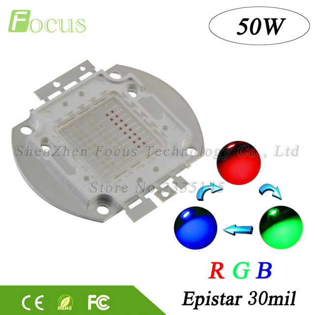 Free Shipping High Power LED Chip 50W RGB Red Green Blue 6 Pin DMX Full Color For DIY 50 Watt LED Stage Light Floodlight