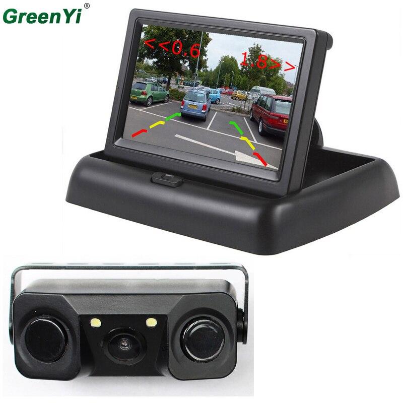 3 in 1 Sound Alarm CCD Car Reverse Backup LED Rear View Parking Camera Sensor Monitor