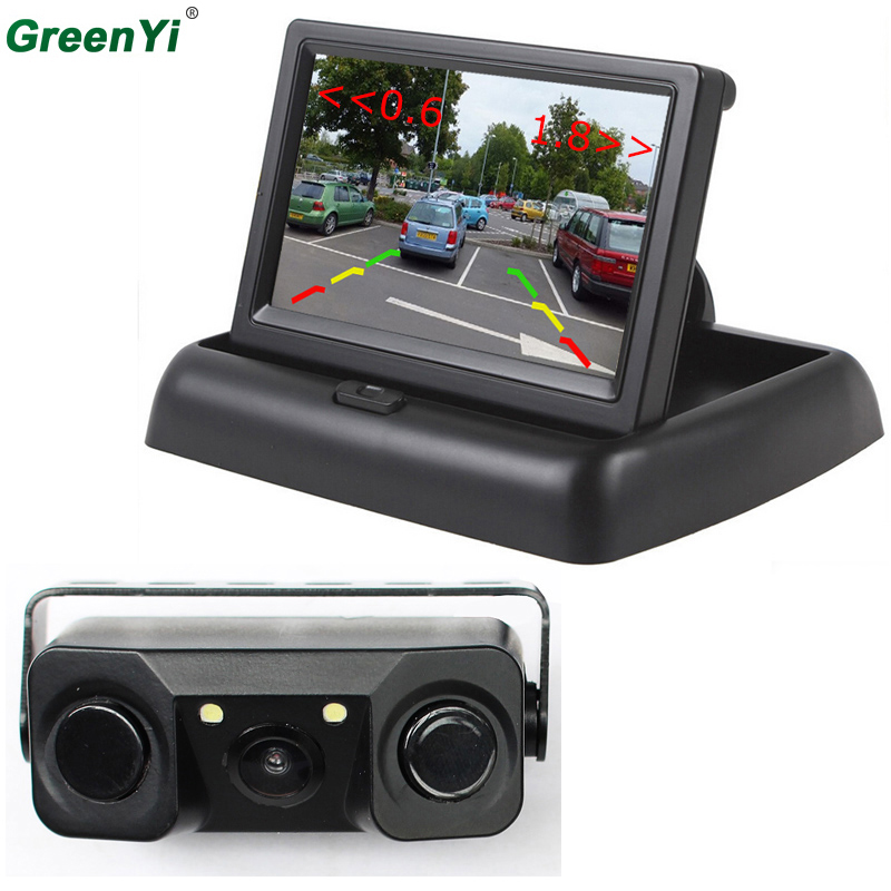 3 в 1 звуковой сигнал CCD автомобиля обратный резервную светодиодный заднего вида Парковка Камера Сенсор монитор + 4,3 дюймов ЖК-дисплей автомобиль видео складной монитор