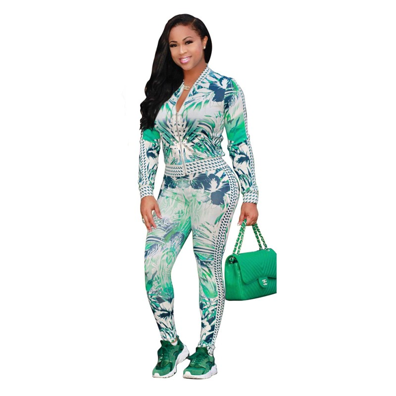 Zmvkgsoa Two Piece Set Women's Tracksuits Autumn Top And Pants Zipper Casual Sweatsuit Long Sleeve Print Spring Outfit Y2225