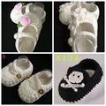 New Baby Girls Crochet Handmade Knit High-top Tall Boots First Walker Shoes