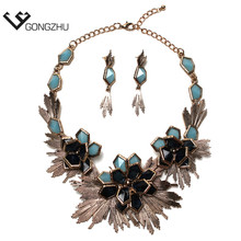 Women Jewelry Fashion Maxi Necklace New Design Metal Flower Statement choker necklaces & pendants for women