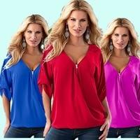 Plus 5XL Size Women S Fashion Blouses Sexy V Neck Zipper Half Sleeve Casual Shirt Rivet