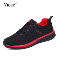 YIGER New Men mesh sneakers light sports shoes male casual lace-up big size mens leisure man running 0324