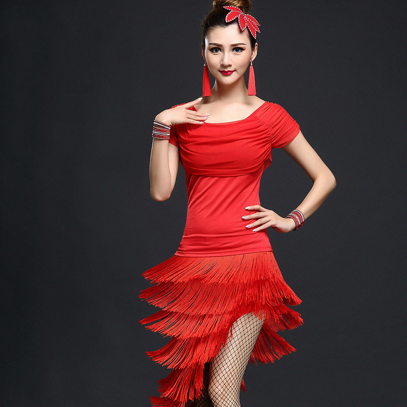 Adult Latin Dance Costume Show Tassel Skirt New Set Dance Suit Performance Service Female Latin Dance Tango Dance