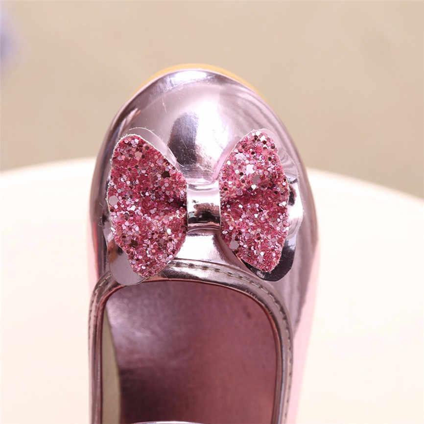 Moda dziewczyny sukienka dzieci dziewczyna moda księżniczka Bowknot taniec Party PU maluch sandały górna wysokiej jakości buty Dropshipping B #