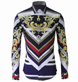 2015 new arrival autumn  high quality flower Royal Mens fashion 100% cotton long sleeve shirt slim size M L XL XXL XXXL