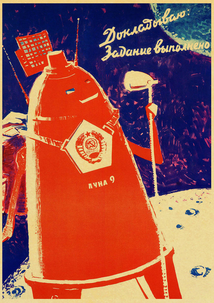HTB1LcfieBWD3KVjSZFsq6AqkpXao Vintage Russian Propaganda Poster The Space Race Retro USSR CCCP Posters and Prints Kraft Paper Wall Art Home Room Decor