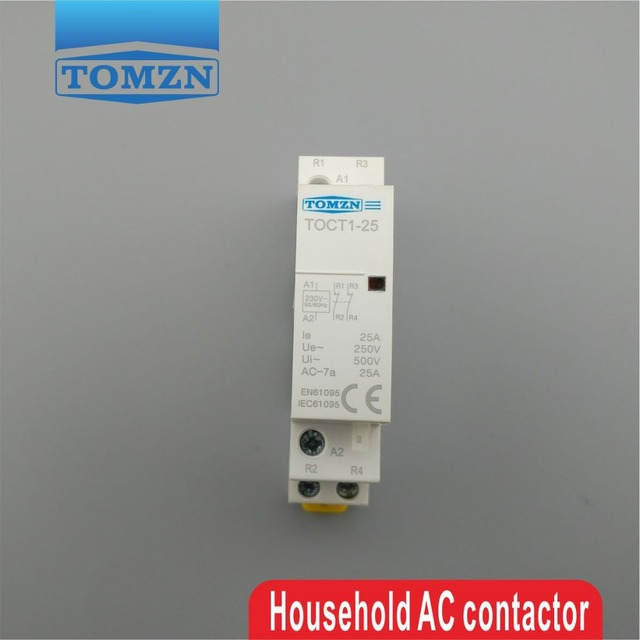TOCT1 2P 25A 2NC 220V/230V 50/60HZ Din rail Household ac Modular contactor two normal close