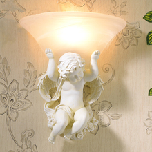 fashion contracted white leds resin angel wall lamp E27 85v-260v led wall light sitting room apliques pared corridor wall lamp
