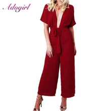 цена на Casual Solid Deep V Neck Party Wrap Jumpsuit Women Short Sleeve Wide Leg Pants Streetwear Rompers Overalls Office Lady Playsuit