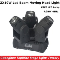 2017 Hot Sales Led Beam Moving Head Light 3 Heads 3X10W Mini Wash Spot Beam Stage