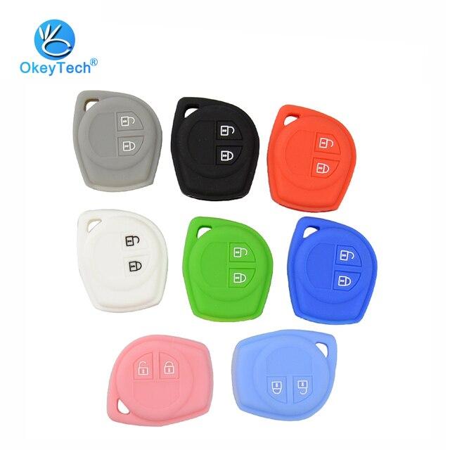 OkeyTech 2 Button Silicone Rubber Pad Auto Car Key Cover Case Fob Protect Skin Bag For Suzuki Grand Alto SX4 Swift Vitara Agila