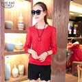 2016 New Arrival Spring Women Tops  All-match Hollow Knit Stitching Lace Long Sleeve Slim Slim Bottoming Short Shirt 83G 35