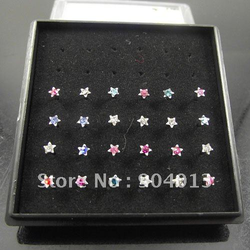96pcs/lot free shipping Colorful star Nostril Nose Ring nose stud Mixed Colors Tragus cool Fashion body piercing jewelry