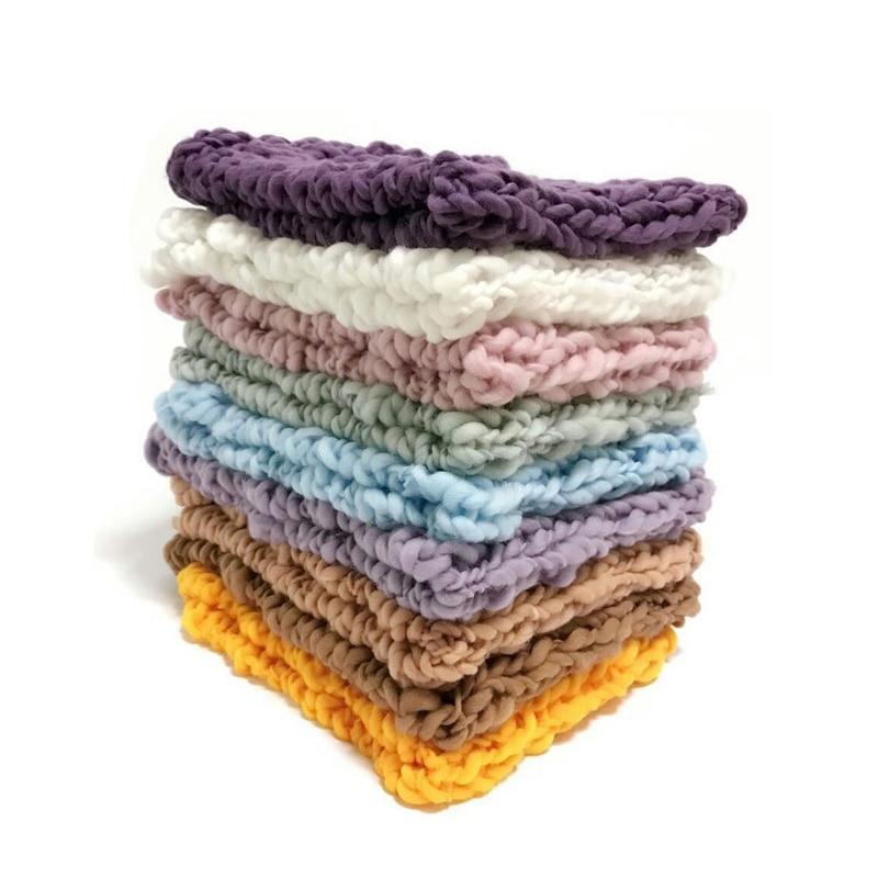 все цены на Wool Crochet Baby Photo Shoot Basket Accessories For Studio Flokati Newborn Photography Props 55*55cm онлайн