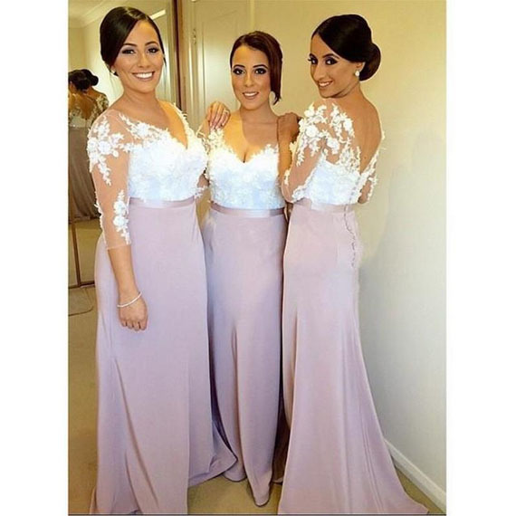 Lilac Purple Lace Y Backless Long Bridesmaid Dresses With Sleeves 2017 Muslim See Through Wedding Party Prom Gowns Fq8 In From