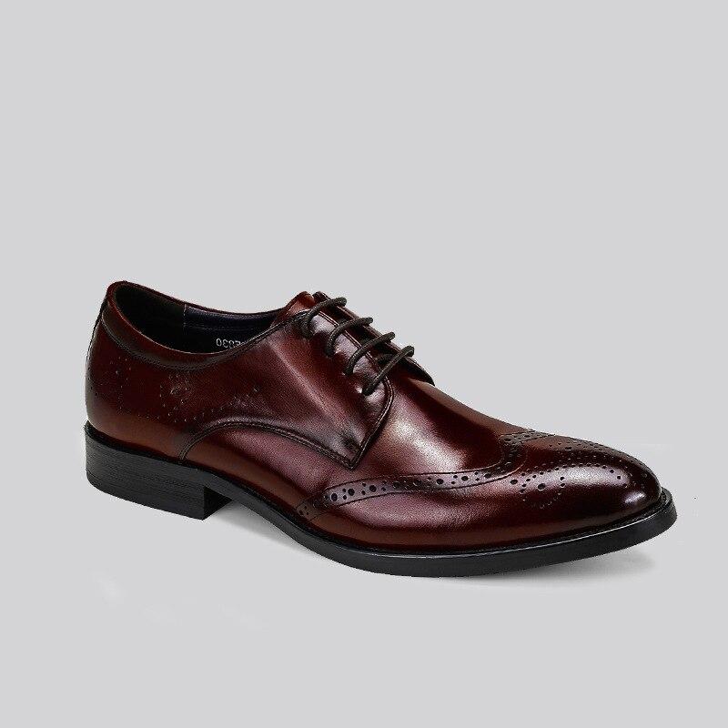 e06b720fd4 Italiano marrom vermelho Sapatos Qyfcioufu Se Vinho De Vermelho Homens  Brogues Vestem Marrom Oxford Preto Genuíno Qualidade Vaca Luxo Alta Couro  ...