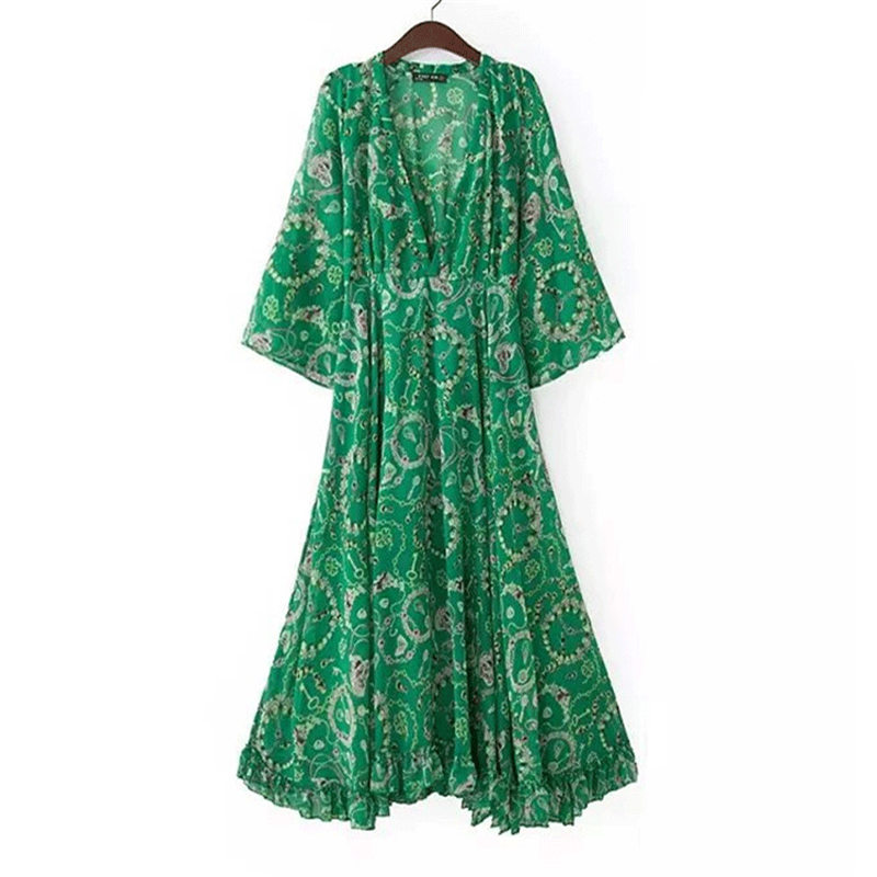 Women Floral Dress Print Flowy Sexy V Neck Beach Boho Chic Maxi Dress Casual High Waisted Party Feminino Vestidos Dresses in Dresses from Women 39 s Clothing